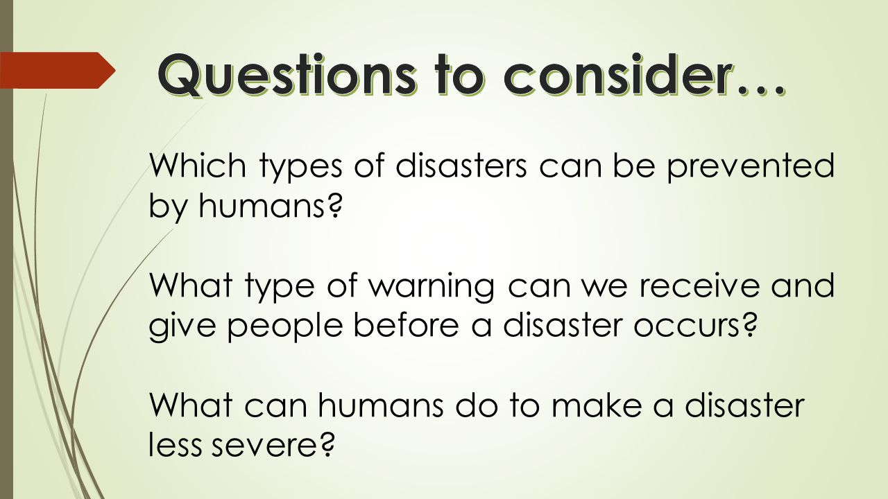 Which types of disasters can be prevented by humans.