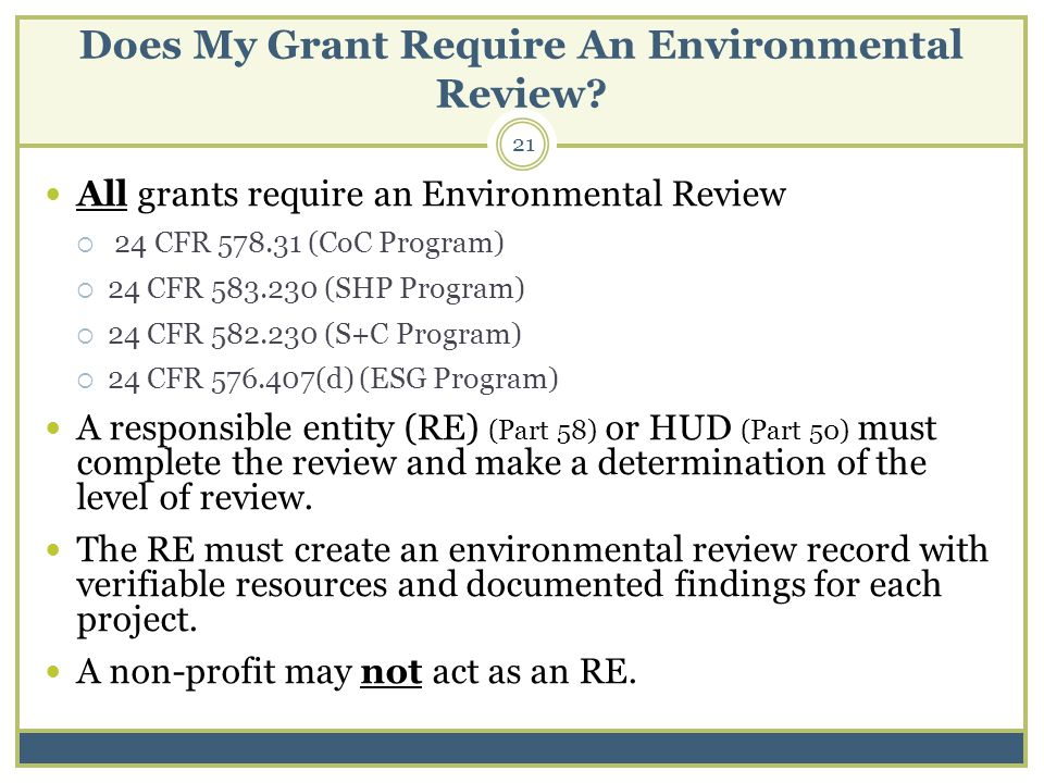 Does My Grant Require An Environmental Review.