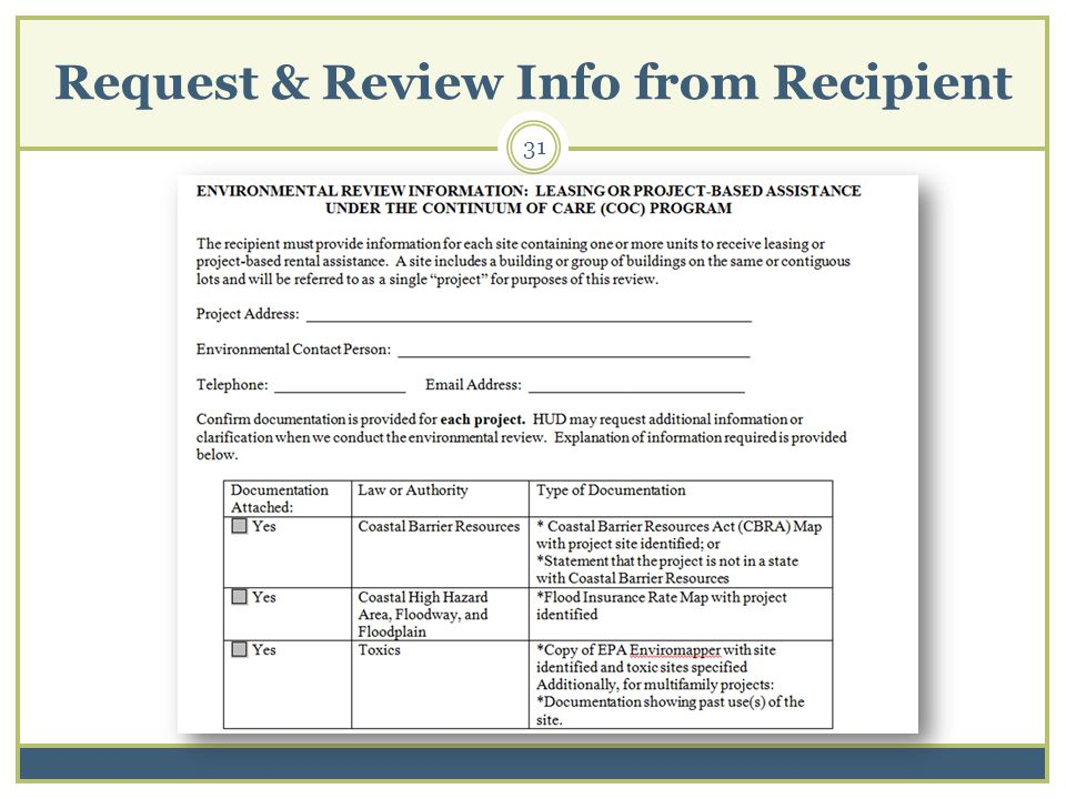 Request & Review Info from Recipient 31