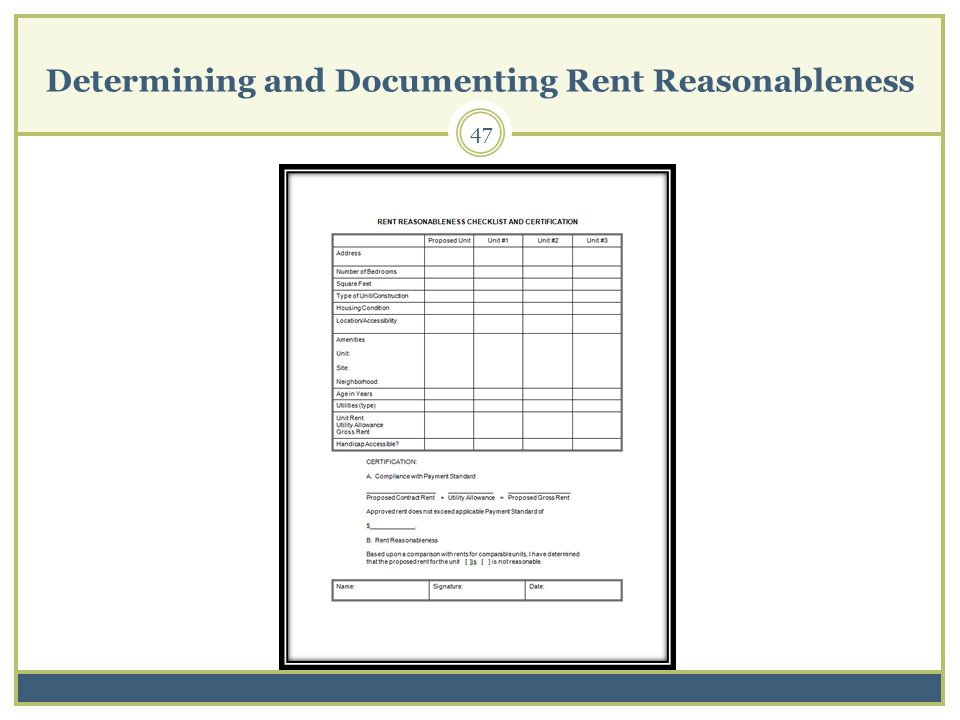 Determining and Documenting Rent Reasonableness 47
