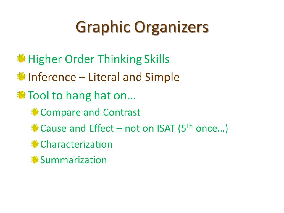 Graphic Organizers Higher Order Thinking Skills Inference – Literal and Simple Tool to hang hat on… Compare and Contrast Cause and Effect – not on ISAT (5 th once…) Characterization Summarization