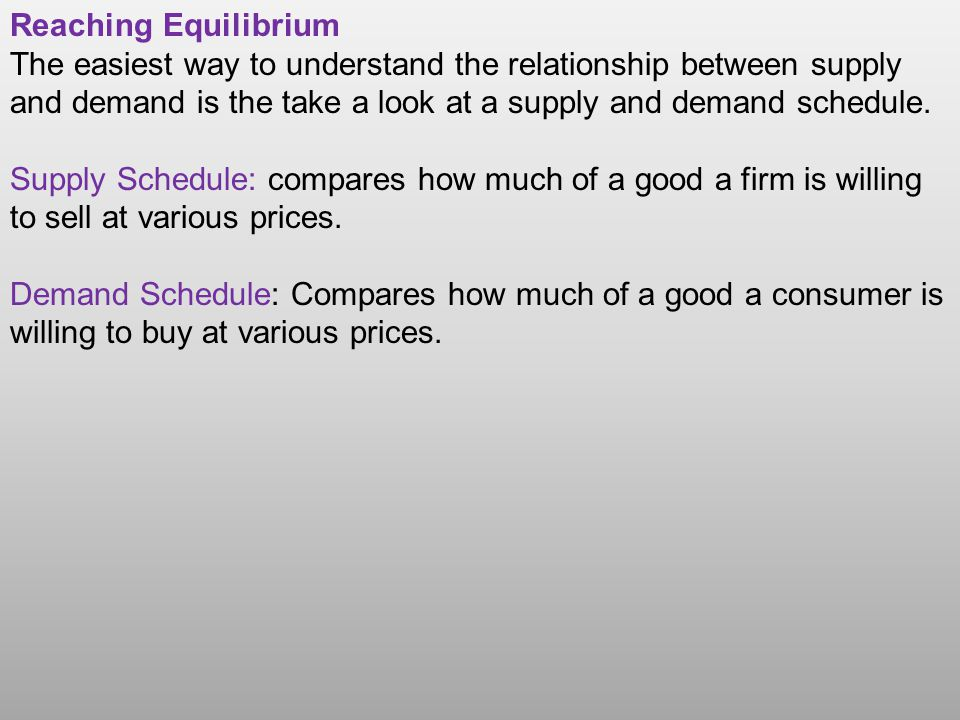 Reaching Equilibrium The easiest way to understand the relationship between supply and demand is the take a look at a supply and demand schedule.