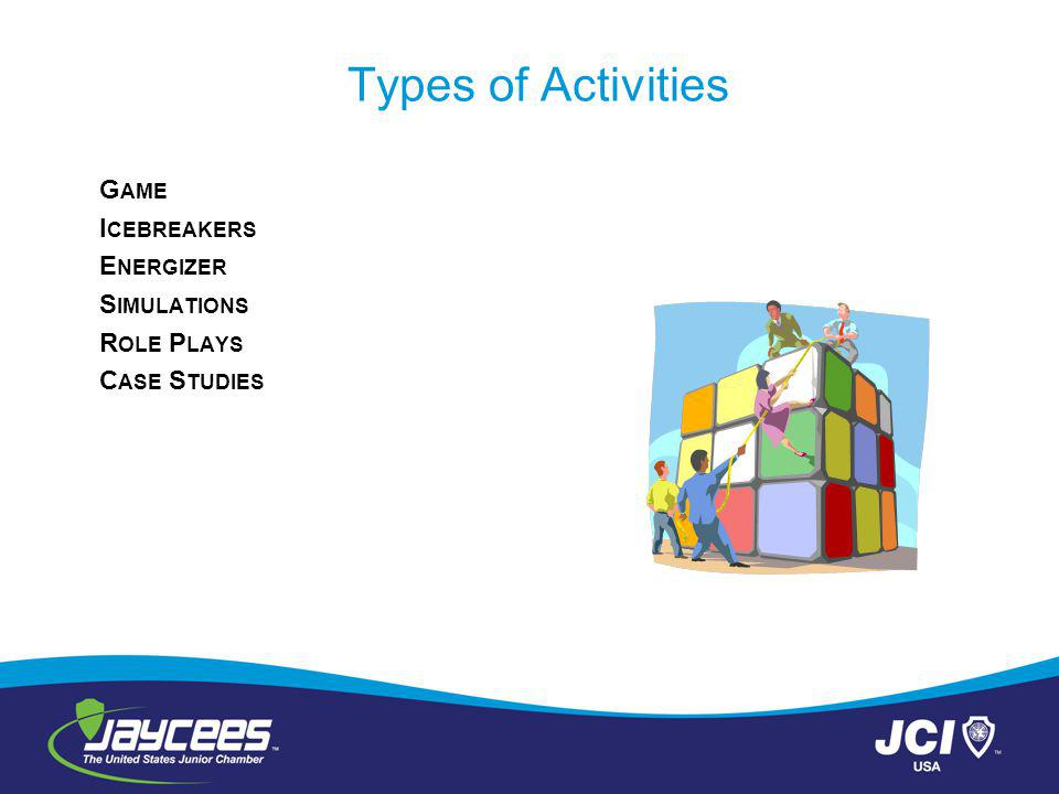 Types of Activities G AME I CEBREAKERS E NERGIZER S IMULATIONS R OLE P LAYS C ASE S TUDIES
