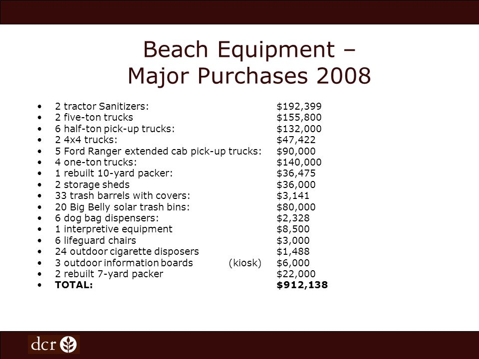 Beach Equipment – Major Purchases 2008 2 tractor Sanitizers:$192,399 2 five-ton trucks$155,800 6 half-ton pick-up trucks:$132,000 2 4x4 trucks:$47,422 5 Ford Ranger extended cab pick-up trucks:$90,000 4 one-ton trucks:$140,000 1 rebuilt 10-yard packer:$36,475 2 storage sheds$36,000 33 trash barrels with covers:$3,141 20 Big Belly solar trash bins:$80,000 6 dog bag dispensers:$2,328 1 interpretive equipment$8,500 6 lifeguard chairs$3,000 24 outdoor cigarette disposers$1,488 3 outdoor information boards(kiosk)$6,000 2 rebuilt 7-yard packer$22,000 TOTAL:$912,138