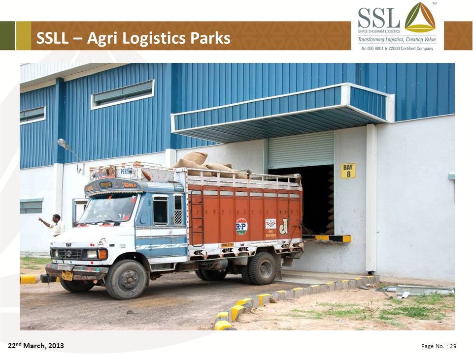 22 nd March, 2013 Page No. : 29 SSLL – Agri Logistics Parks