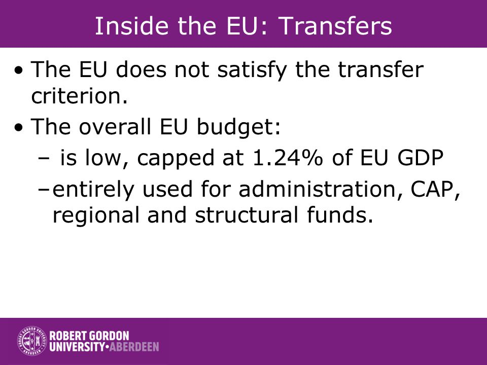 Inside the EU: Transfers The EU does not satisfy the transfer criterion.