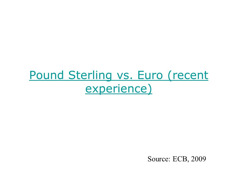 Pound Sterling vs. Euro (recent experience) Source: ECB, 2009
