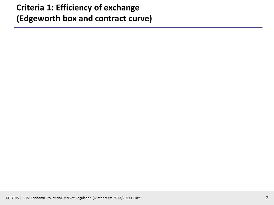 KOOTHS | BiTS: Economic Policy and Market Regulation (winter term 2013/2014), Part 2 7 Criteria 1: Efficiency of exchange (Edgeworth box and contract curve)