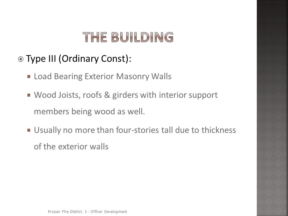 Type III (Ordinary Const): Load Bearing Exterior Masonry Walls Wood Joists, roofs & girders with interior support members being wood as well.
