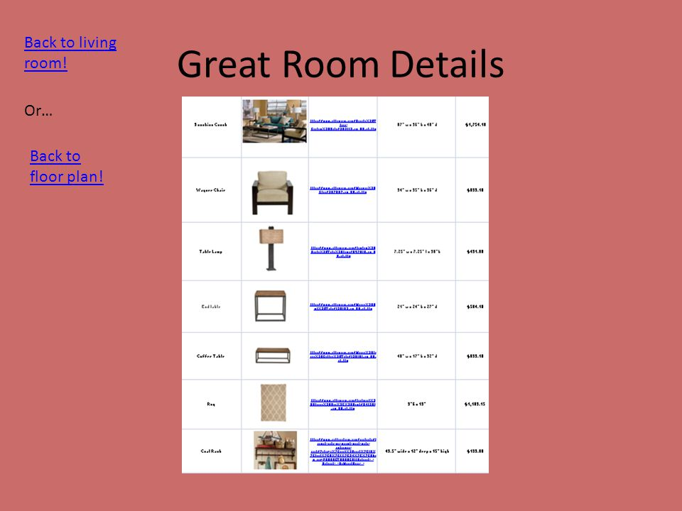 Great Room Details Back to living room! Or… Back to floor plan!