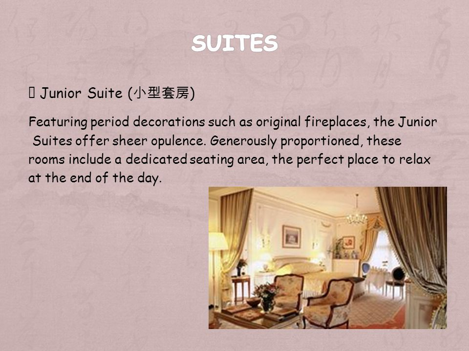 Junior Suite ( ) Featuring period decorations such as original fireplaces, the Junior Suites offer sheer opulence.