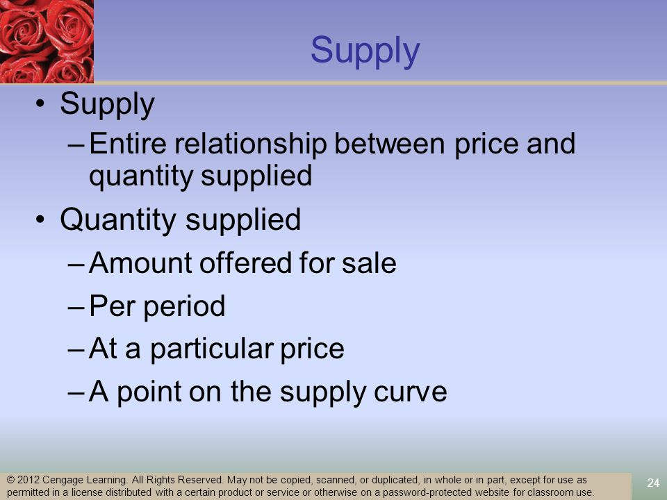 24 Supply –Entire relationship between price and quantity supplied Quantity supplied –Amount offered for sale –Per period –At a particular price –A point on the supply curve © 2012 Cengage Learning.