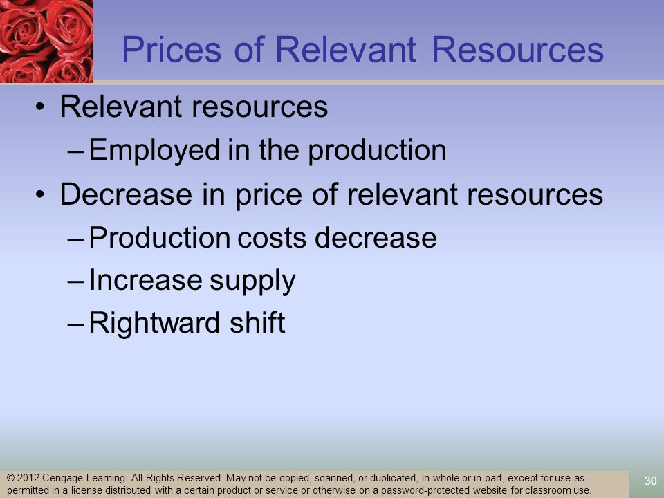 30 Prices of Relevant Resources Relevant resources –Employed in the production Decrease in price of relevant resources –Production costs decrease –Increase supply –Rightward shift © 2012 Cengage Learning.