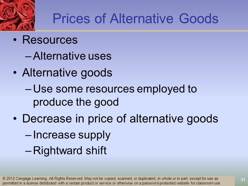 31 Prices of Alternative Goods Resources –Alternative uses Alternative goods –Use some resources employed to produce the good Decrease in price of alternative goods –Increase supply –Rightward shift © 2012 Cengage Learning.