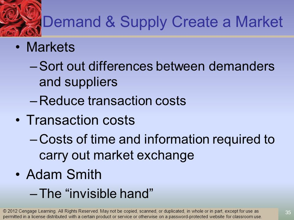 35 Demand & Supply Create a Market Markets –Sort out differences between demanders and suppliers –Reduce transaction costs Transaction costs –Costs of time and information required to carry out market exchange Adam Smith –The invisible hand © 2012 Cengage Learning.