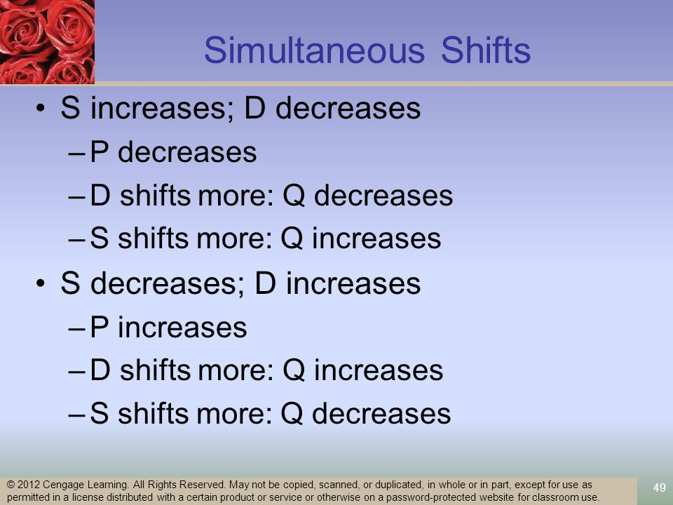 Simultaneous Shifts S increases; D decreases –P decreases –D shifts more: Q decreases –S shifts more: Q increases S decreases; D increases –P increases –D shifts more: Q increases –S shifts more: Q decreases 49 © 2012 Cengage Learning.