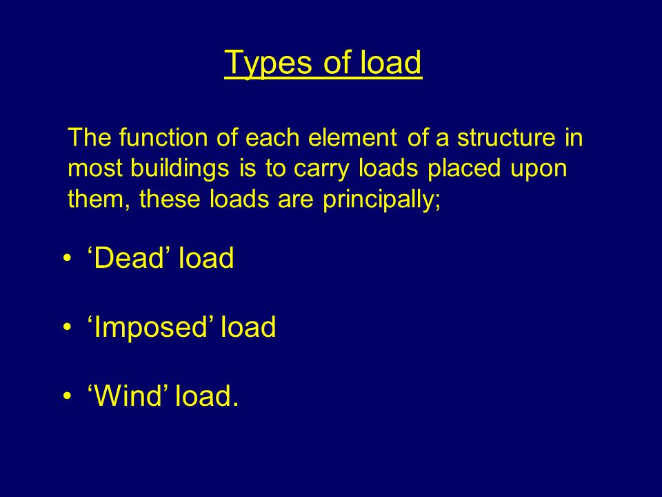 Types of load The function of each element of a structure in most buildings is to carry loads placed upon them, these loads are principally; Dead load Imposed load Wind load.