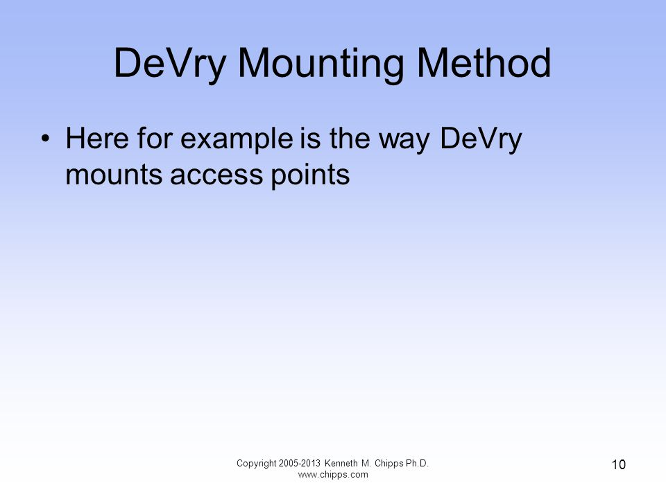 DeVry Mounting Method Here for example is the way DeVry mounts access points Copyright 2005-2013 Kenneth M.