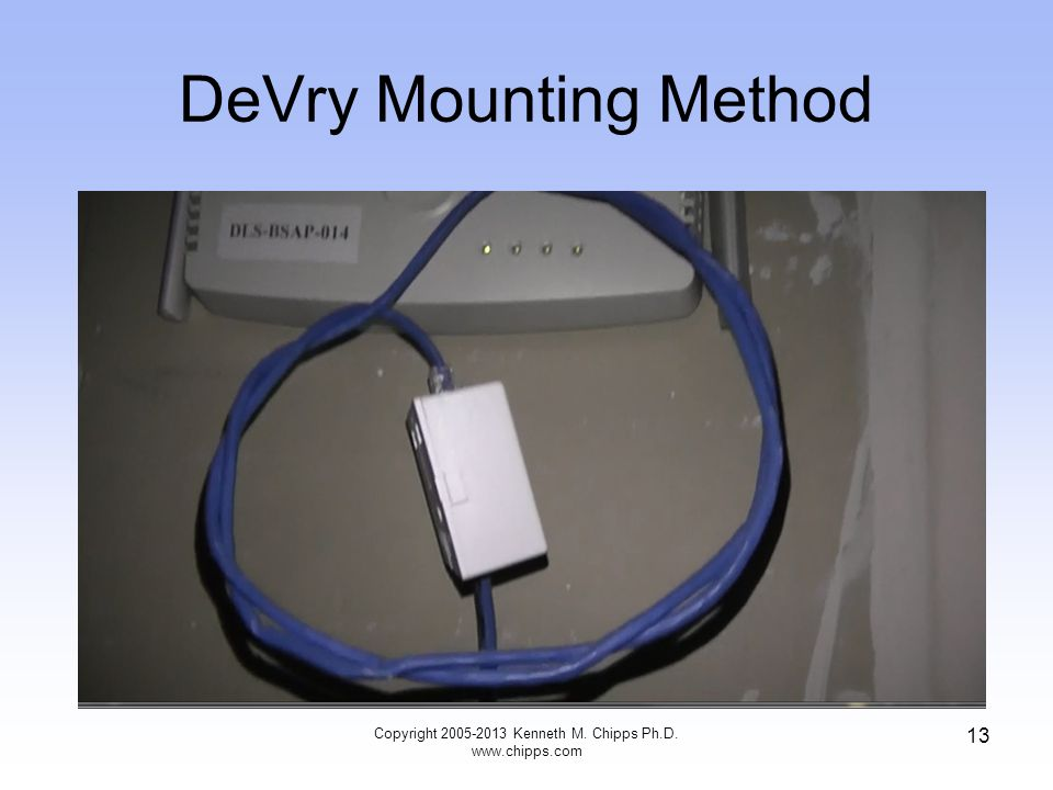 DeVry Mounting Method Copyright 2005-2013 Kenneth M. Chipps Ph.D. www.chipps.com 13