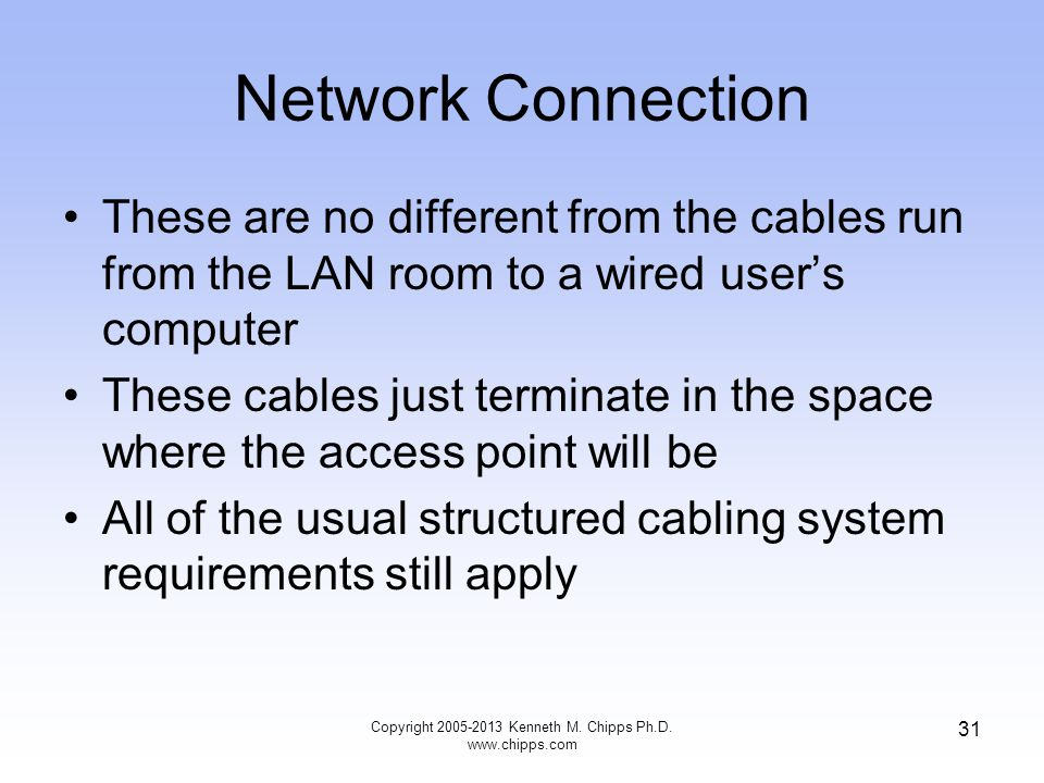 Network Connection These are no different from the cables run from the LAN room to a wired users computer These cables just terminate in the space where the access point will be All of the usual structured cabling system requirements still apply Copyright 2005-2013 Kenneth M.
