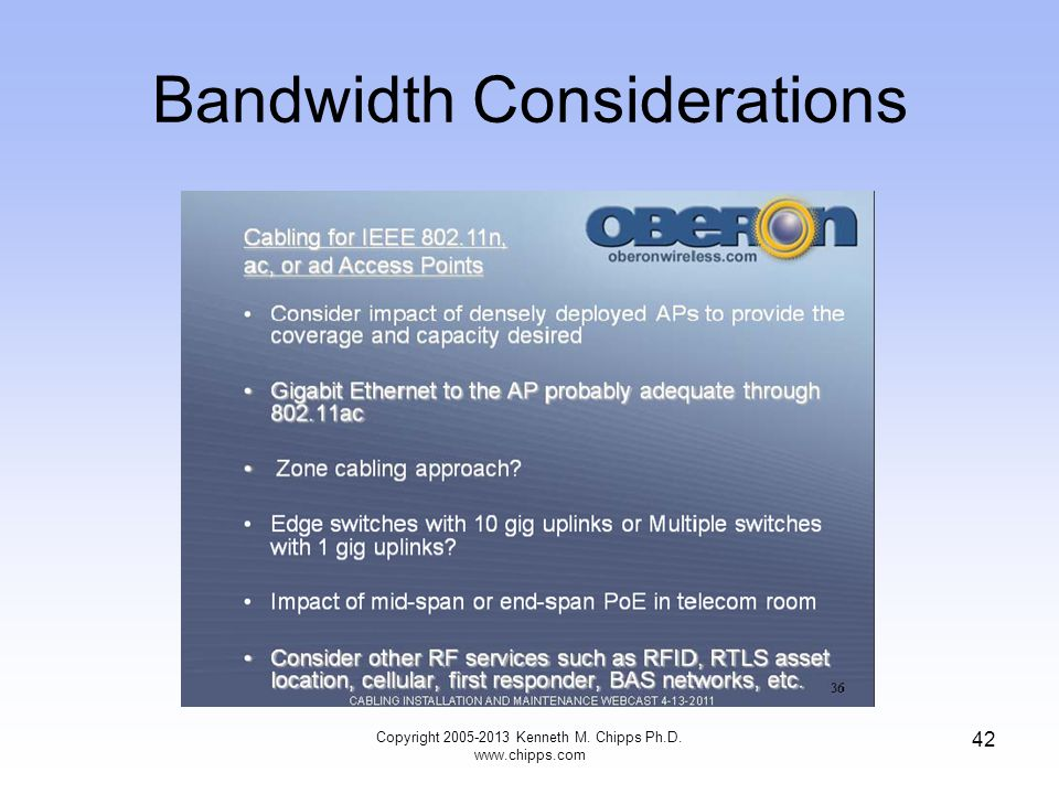 Bandwidth Considerations Copyright 2005-2013 Kenneth M. Chipps Ph.D. www.chipps.com 42