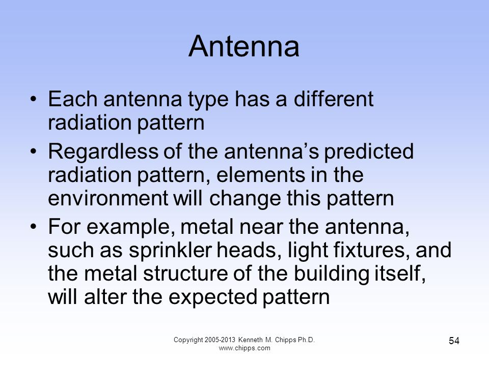 Antenna Each antenna type has a different radiation pattern Regardless of the antennas predicted radiation pattern, elements in the environment will change this pattern For example, metal near the antenna, such as sprinkler heads, light fixtures, and the metal structure of the building itself, will alter the expected pattern Copyright 2005-2013 Kenneth M.