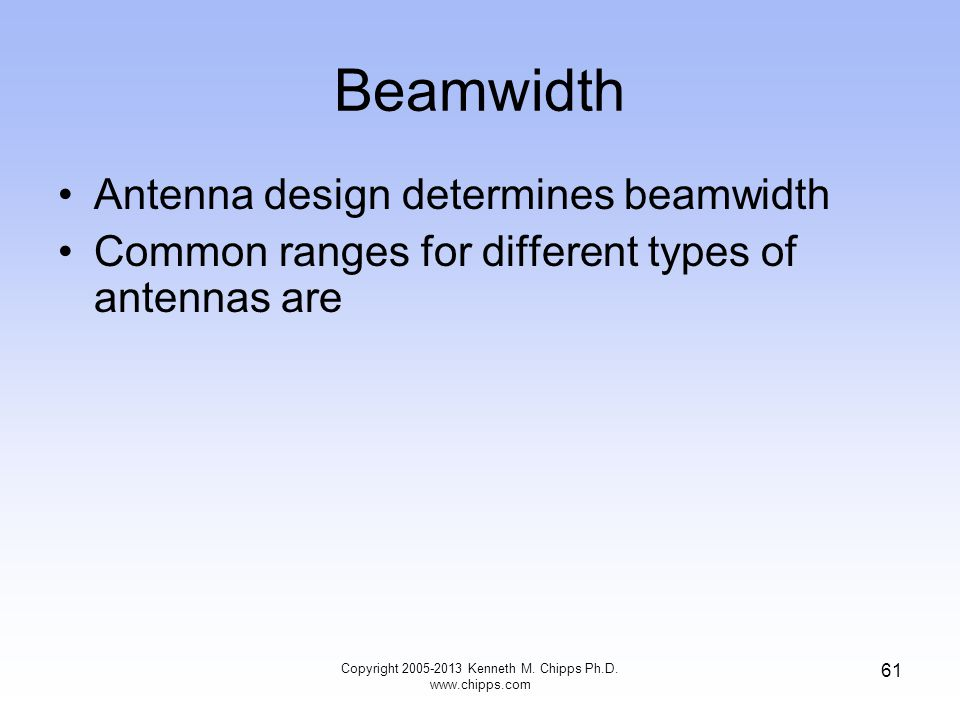 Beamwidth Antenna design determines beamwidth Common ranges for different types of antennas are Copyright 2005-2013 Kenneth M.