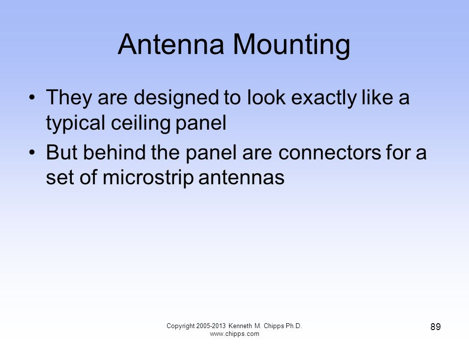 Antenna Mounting They are designed to look exactly like a typical ceiling panel But behind the panel are connectors for a set of microstrip antennas Copyright 2005-2013 Kenneth M.