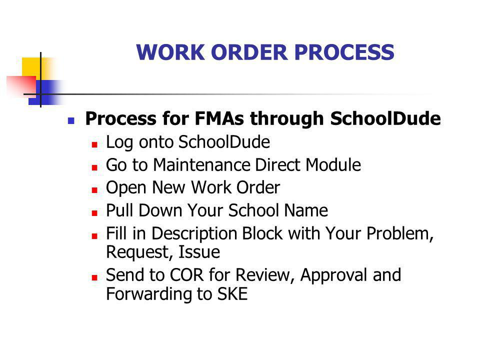 WORK ORDER PROCESS Process for FMAs through SchoolDude Log onto SchoolDude Go to Maintenance Direct Module Open New Work Order Pull Down Your School Name Fill in Description Block with Your Problem, Request, Issue Send to COR for Review, Approval and Forwarding to SKE