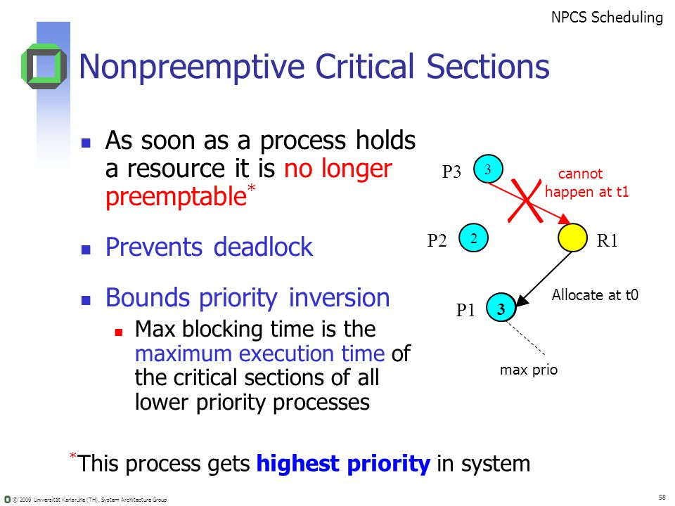 © 2009 Universität Karlsruhe (TH), System Architecture Group 58 Nonpreemptive Critical Sections As soon as a process holds a resource it is no longer preemptable * Prevents deadlock Bounds priority inversion Max blocking time is the maximum execution time of the critical sections of all lower priority processes P3 P2 P1 R1 3 2 1 * This process gets highest priority in system 3 NPCS Scheduling max prio cannot happen at t1 Allocate at t0