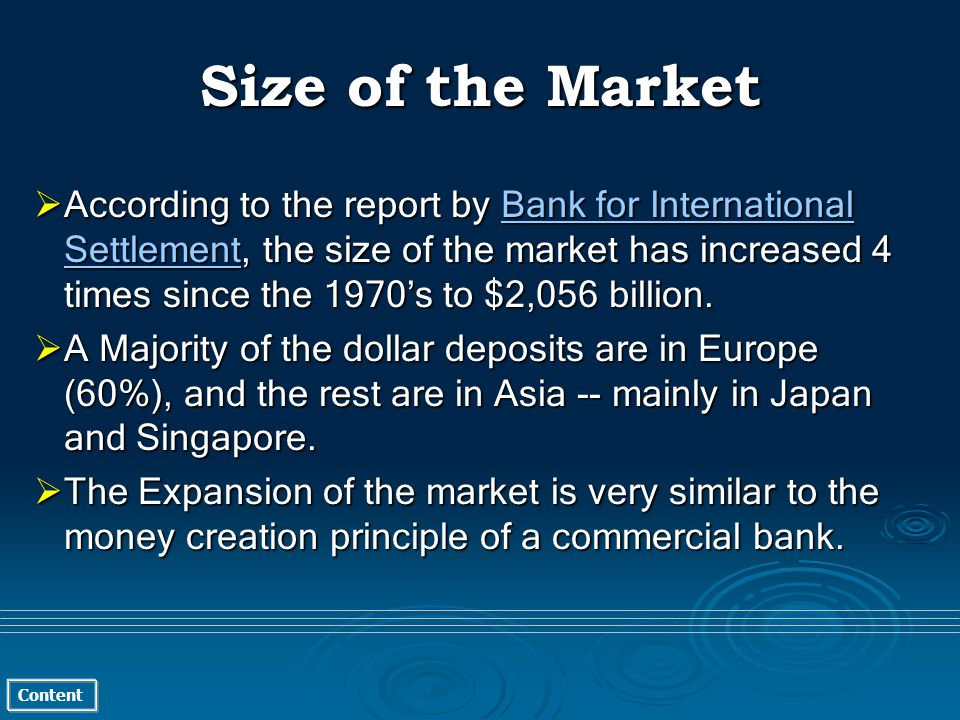 Content Size of the Market According to the report by Bank for International Settlement, the size of the market has increased 4 times since the 1970s to $2,056 billion.