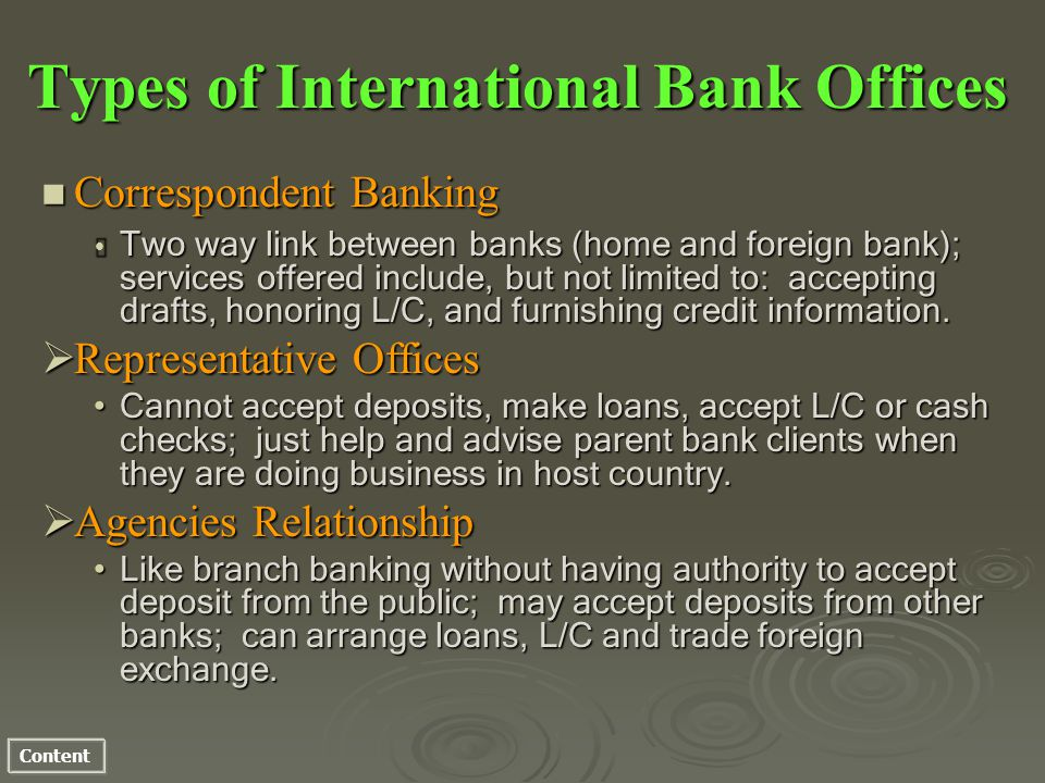Content Types of International Bank Offices n Correspondent Banking Two way link between banks (home and foreign bank); services offered include, but not limited to: accepting drafts, honoring L/C, and furnishing credit information.