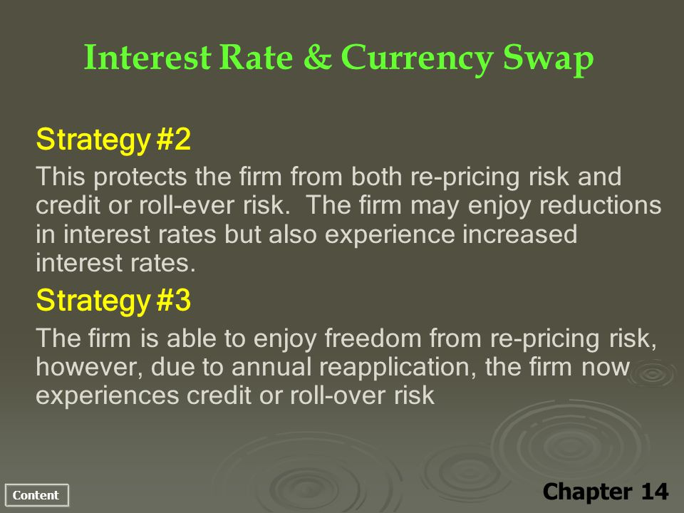 Content Interest Rate & Currency Swap Chapter 14 Strategy #2 This protects the firm from both re-pricing risk and credit or roll-ever risk.