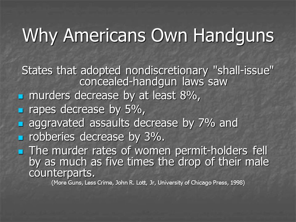 Why Americans Own Handguns States that adopted nondiscretionary shall-issue concealed-handgun laws saw murders decrease by at least 8%, murders decrease by at least 8%, rapes decrease by 5%, rapes decrease by 5%, aggravated assaults decrease by 7% and aggravated assaults decrease by 7% and robberies decrease by 3%.