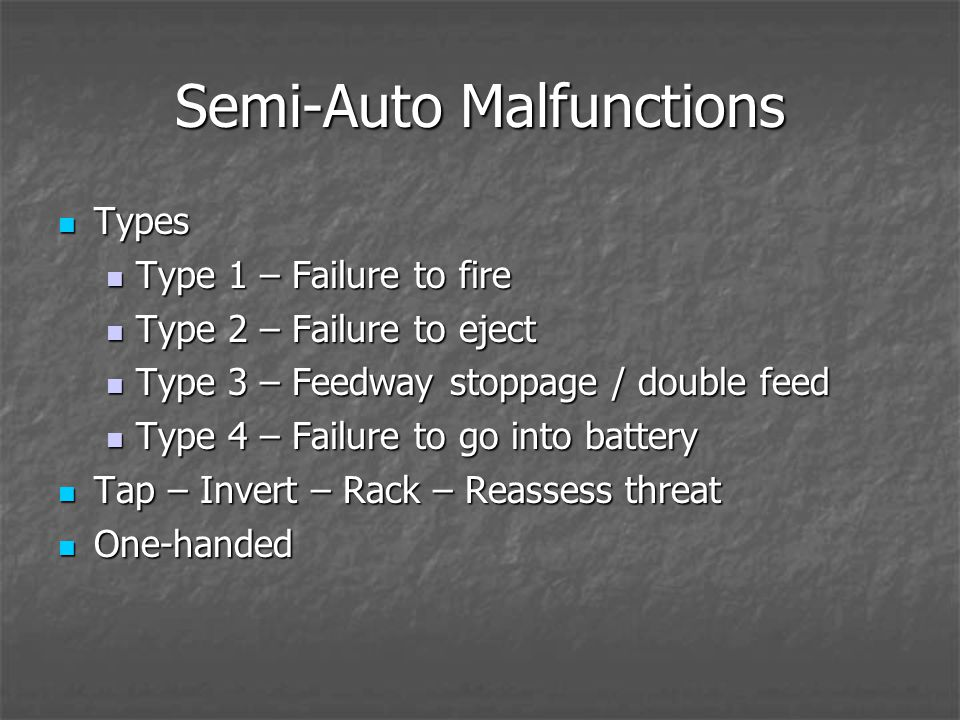 Semi-Auto Malfunctions Types Types Type 1 – Failure to fire Type 1 – Failure to fire Type 2 – Failure to eject Type 2 – Failure to eject Type 3 – Feedway stoppage / double feed Type 3 – Feedway stoppage / double feed Type 4 – Failure to go into battery Type 4 – Failure to go into battery Tap – Invert – Rack – Reassess threat Tap – Invert – Rack – Reassess threat One-handed One-handed