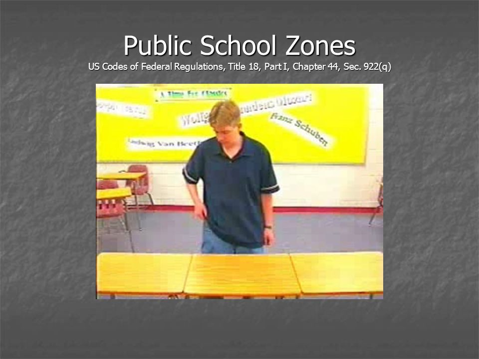 Public School Zones US Codes of Federal Regulations, Title 18, Part I, Chapter 44, Sec. 922(q)