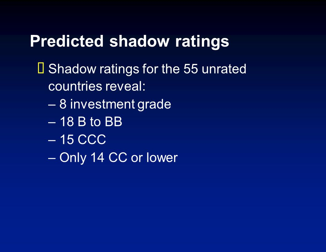 Predicted shadow ratings Shadow ratings for the 55 unrated countries reveal: –8 investment grade –18 B to BB –15 CCC –Only 14 CC or lower