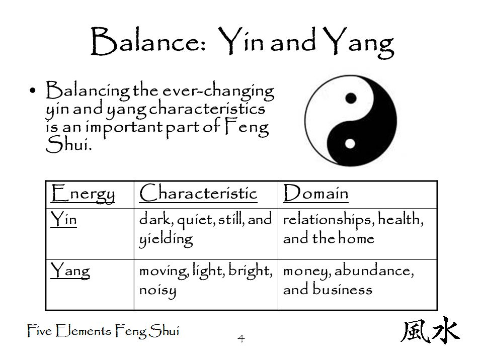 4 Balance: Yin and Yang Balancing the ever-changing yin and yang characteristics is an important part of Feng Shui.