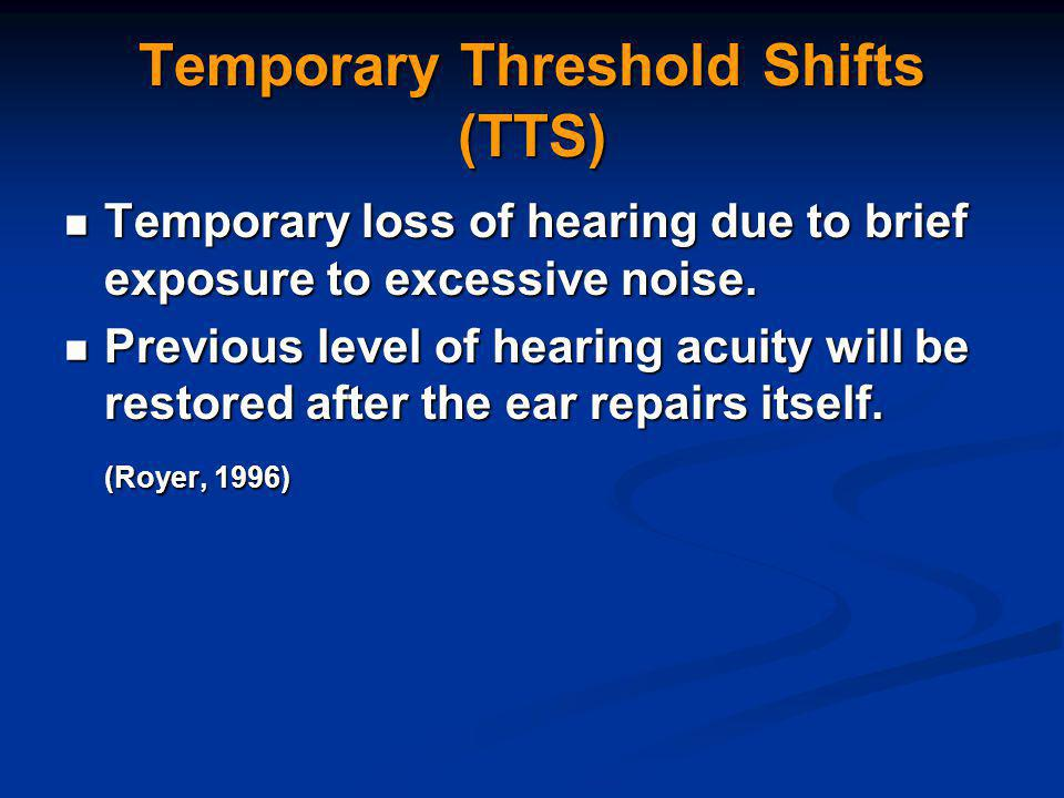 Temporary Threshold Shifts (TTS) Temporary loss of hearing due to brief exposure to excessive noise.