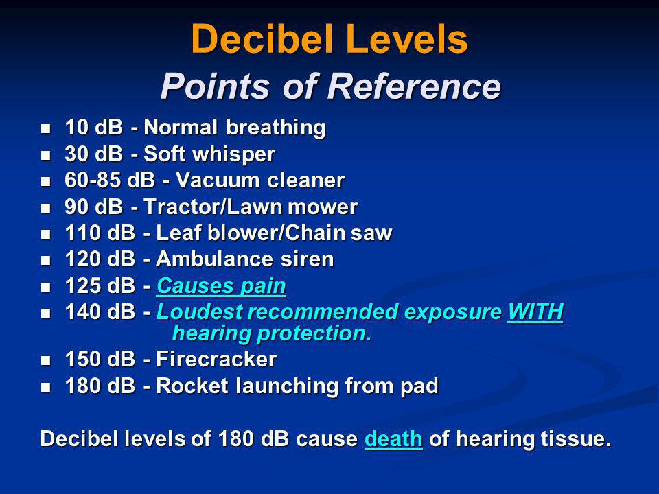 Decibel Levels Points of Reference 10 dB - Normal breathing 10 dB - Normal breathing 30 dB - Soft whisper 30 dB - Soft whisper 60-85 dB - Vacuum cleaner 60-85 dB - Vacuum cleaner 90 dB - Tractor/Lawn mower 90 dB - Tractor/Lawn mower 110 dB - Leaf blower/Chain saw 110 dB - Leaf blower/Chain saw 120 dB - Ambulance siren 120 dB - Ambulance siren 125 dB - Causes pain 125 dB - Causes pain 140 dB - Loudest recommended exposure WITH hearing protection.