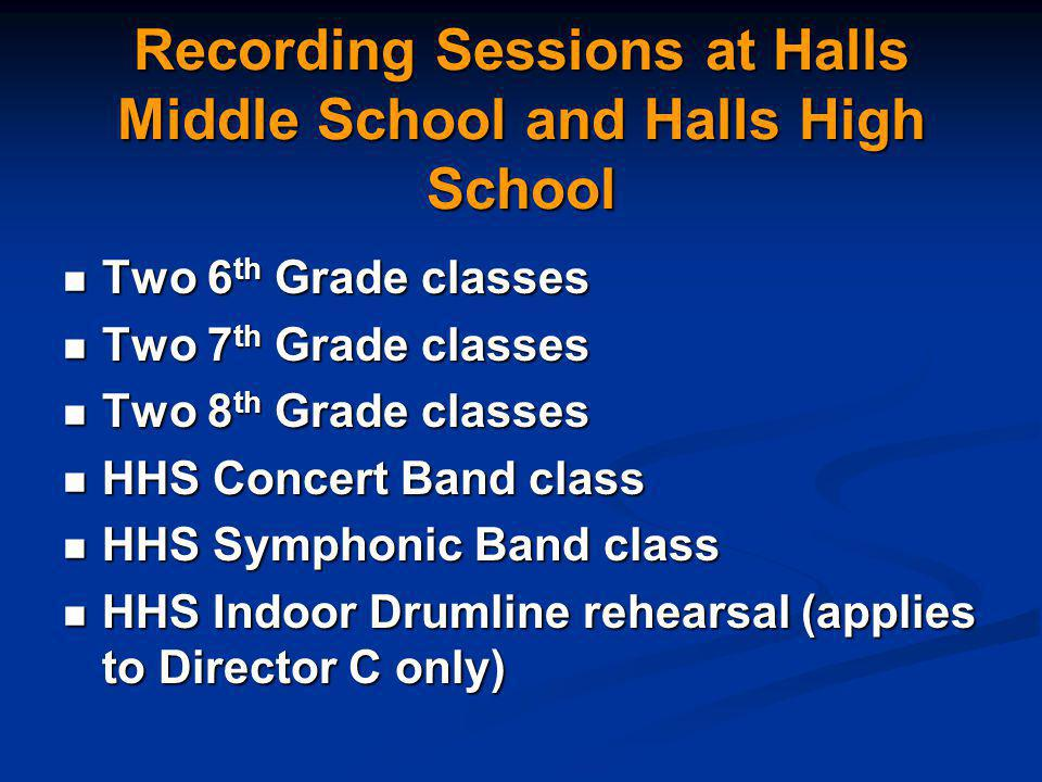 Recording Sessions at Halls Middle School and Halls High School Two 6 th Grade classes Two 6 th Grade classes Two 7 th Grade classes Two 7 th Grade classes Two 8 th Grade classes Two 8 th Grade classes HHS Concert Band class HHS Concert Band class HHS Symphonic Band class HHS Symphonic Band class HHS Indoor Drumline rehearsal (applies to Director C only) HHS Indoor Drumline rehearsal (applies to Director C only)