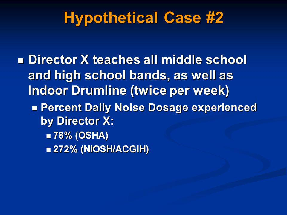 Hypothetical Case #2 Director X teaches all middle school and high school bands, as well as Indoor Drumline (twice per week) Director X teaches all middle school and high school bands, as well as Indoor Drumline (twice per week) Percent Daily Noise Dosage experienced by Director X: Percent Daily Noise Dosage experienced by Director X: 78% (OSHA) 78% (OSHA) 272% (NIOSH/ACGIH) 272% (NIOSH/ACGIH)