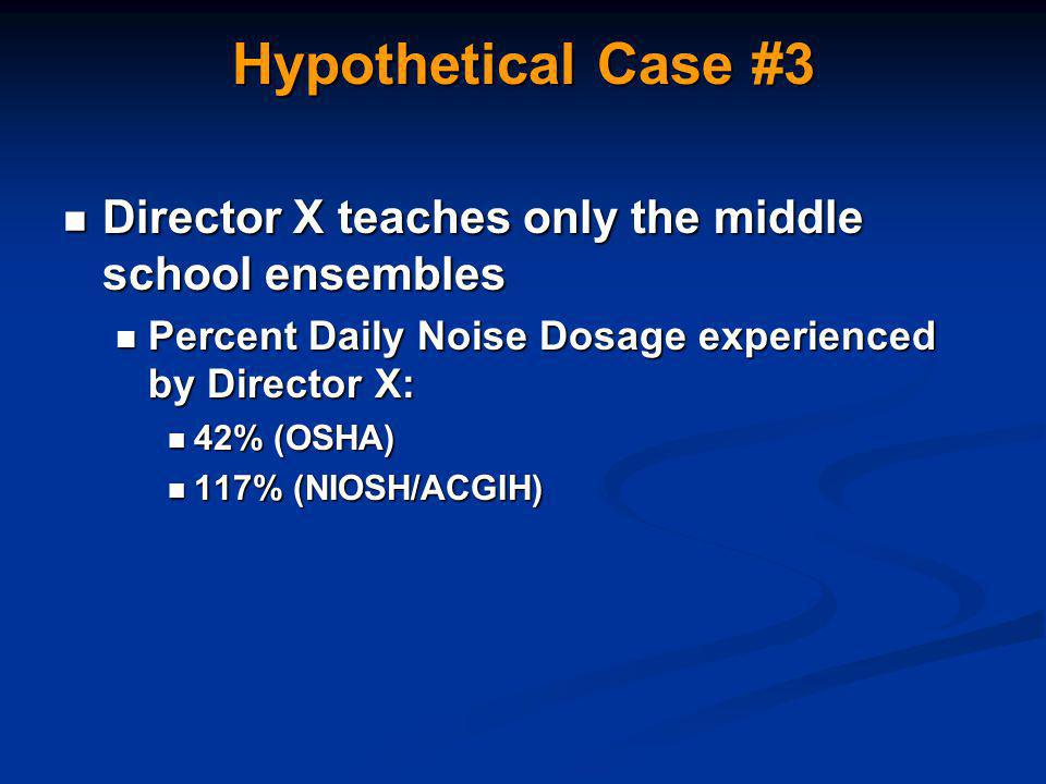 Hypothetical Case #3 Director X teaches only the middle school ensembles Director X teaches only the middle school ensembles Percent Daily Noise Dosage experienced by Director X: Percent Daily Noise Dosage experienced by Director X: 42% (OSHA) 42% (OSHA) 117% (NIOSH/ACGIH) 117% (NIOSH/ACGIH)