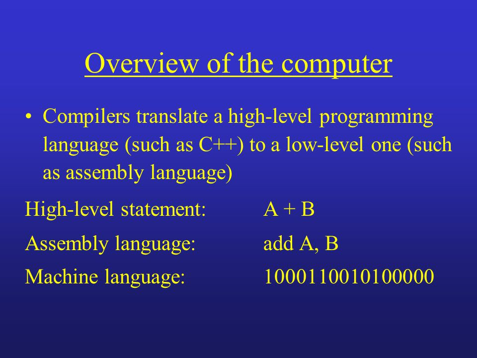 Overview of the computer Compilers translate a high-level programming language (such as C++) to a low-level one (such as assembly language) High-level statement: A + B Assembly language:add A, B Machine language:1000110010100000