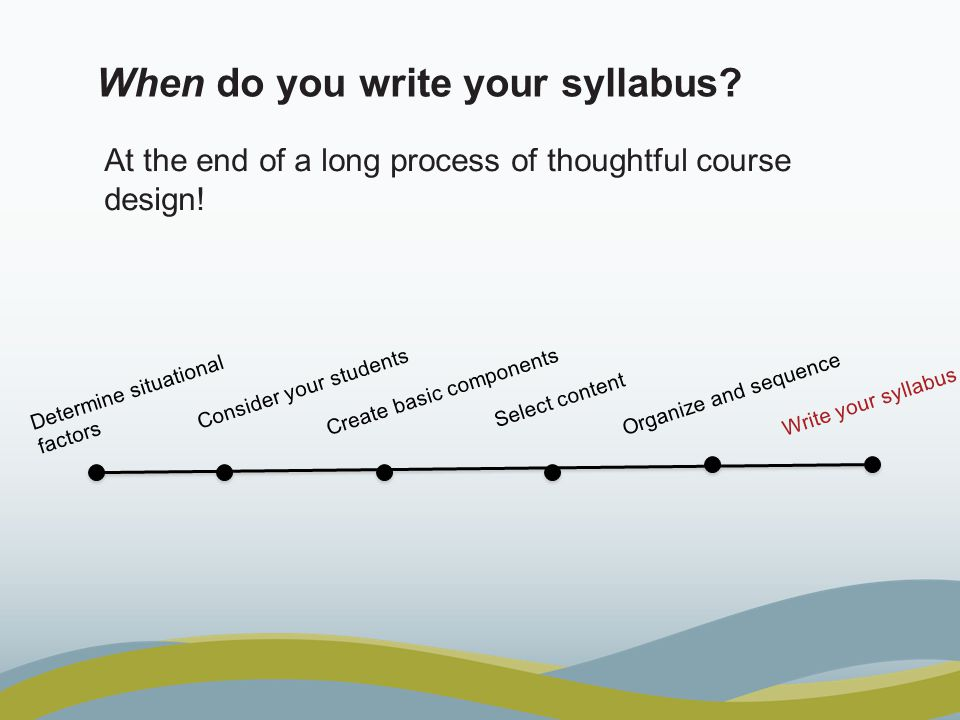 When do you write your syllabus. At the end of a long process of thoughtful course design.