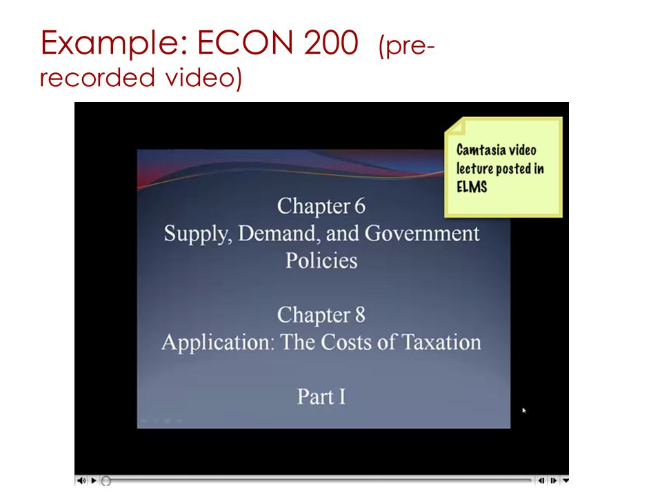 Example: ECON 200 (pre- recorded video)