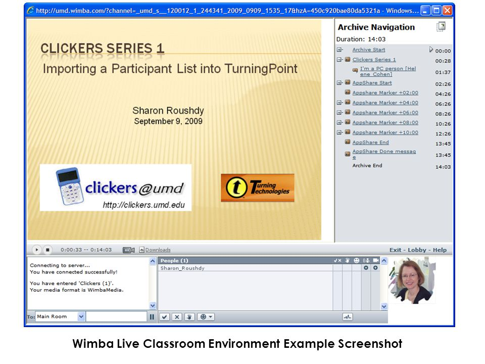 Wimba Live Classroom Environment Example Screenshot
