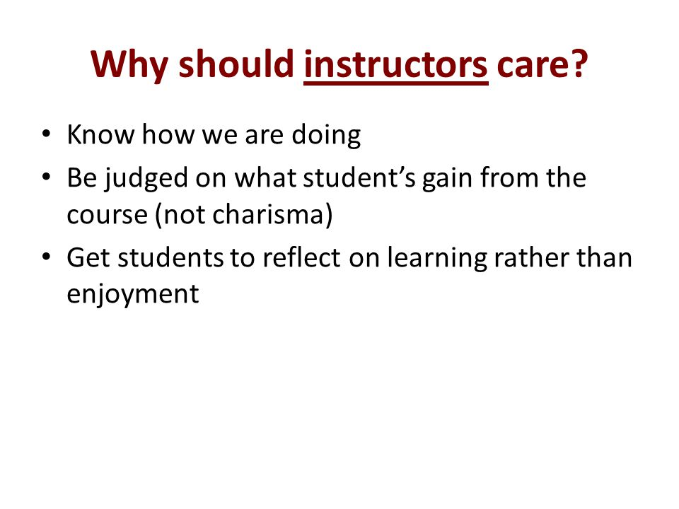 Why should instructors care.