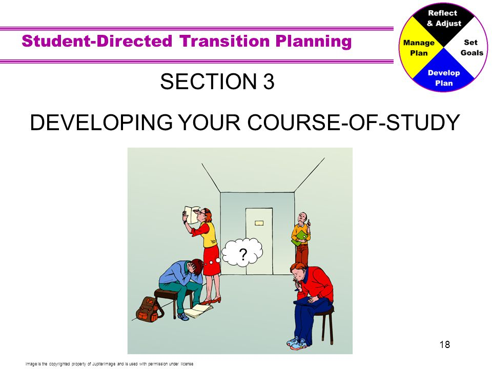 Student-Directed Transition Planning 18 SECTION 3 DEVELOPING YOUR COURSE-OF-STUDY Image is the copyrighted property of JupiterImage and is used with permission under license