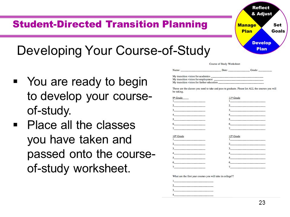Student-Directed Transition Planning 23 Developing Your Course-of-Study You are ready to begin to develop your course- of-study.